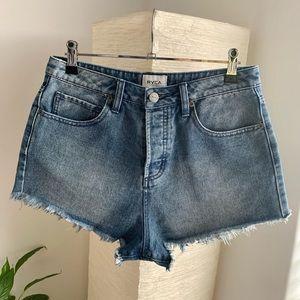 RVCA High Waisted Vintage Inspired Denim Shorts